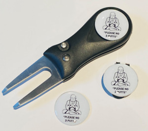 Budha No 3 Putts Pitchfork and Golf  Hat Clip and 3 Markers - FREE UK P&P