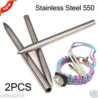 2PCS Stainless Steel 550 Paracord Fids Lacing Stitching Weaving Needles 3*0.2""
