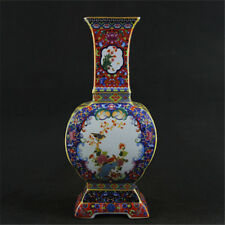 Qing dynasty Porcelain Replica Enamel manual Painting Flower  bird ceramic vase
