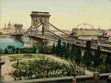 Budapest. Kettenbrücke, vom rechten Ufer.   PZ vintage photochromie, photochrom