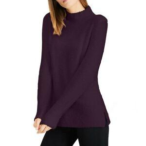 CALVIN KLEIN Women's Aubergine Textured Wool Blend Mock Neck Sweater Top L TEDO