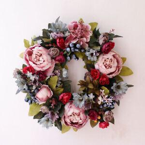 35cm Artificial Rose Flower Garland Door Hanging Wreath Wedding Party Xmas Decor