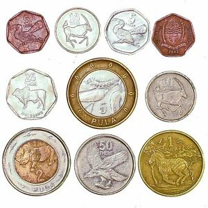 10 BOTSWANA COINS AFRICAN WILD ANIMALS MIXED CASH THEBE PULA 1976-2019