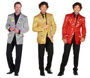LED leucht Pailletten Jackett Kostüm Jacke Sakko Anzug Show Disco Party Herren
