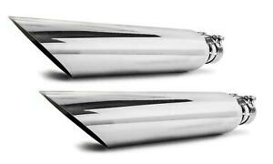 """Two Universal angle cut stainless steel exhaust tips 2.5"""" 17"""" 4"""" outlet"""