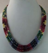 341 cts NATURAL RUBY EMERALD SAPPHIRE MULTI STRAND FACETED BEADS NECKLACE