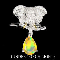 Unheated Pear Fire Opal 10x7mm Black Spinel Cz 925 Sterling Silver Elephant Ring