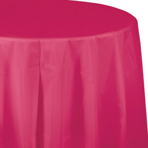 """Hot Magenta Plastic Round Tablecloth 82"""" Pink Decorations & Party Supplies"""