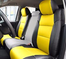 TOYOTA TUNDRA 2014-2016 BLACK/YELLOW S.LEATHER CUSTOM MADE FIT FRONT SEAT COVER
