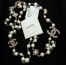 "Chanel Classic Large CC Logo Crystals Pearls 46"" Necklace New"