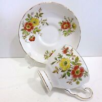 Tuscan Signed Bone China Teacup & Saucer England White/Yellow/Orange Flowers