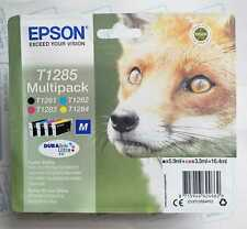 More details for genuine epson t1285 fox multipack ink cartridges  -sealed - exp date 08/2023
