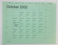 DAWSON'S CREEK set used paperwork ~ PRODUCTION CALENDAR schedule page ~ Oct 2002