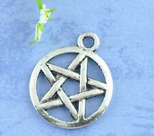Pentacle Pentagram Pagan Charm - Small - Supernatural - Silver Tone (Qty x 10)