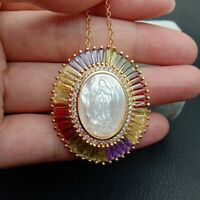 """Rainbow CZ Micro Pave White Shell Virgin Mary Oval Pendant chain necklace 17.5"""""""