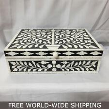 Real Bone Inlay Designer Luxury Jewelry Jewellery Box Gift storage BLACK Floral