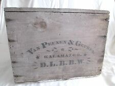 Antique Late 1800's VAN PEENEN & GEUKES Wooden Advertising Crate Kalamazoo Rare