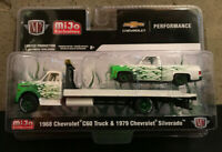 M2 Machines 1:64-1976 Chevy C60 With 1979 Chevy Silverado White /& Green Fire