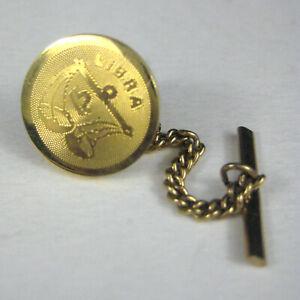 Dante Libra Mens Tie Clip Goldtone Astrology Sign Tie Pin Bar Jewelry Vintage