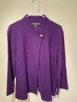 Karl Lagerfeld Wool Blend  Cardigan Sweater Top Purple Size L Large