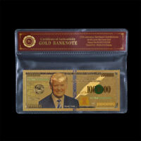 WR 45th President Donald Trump $1000000 24K Gold Banknote Collection Gift