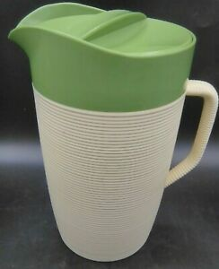Raffiaware by Thermo-Temp Green and Cream Pitcher with Lid MADE IN U.S.A.