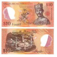 BRUNEI UNC $10 Ringgit / Dollars Banknote (2011) P-37 POLYMER Money D/2 Prefix