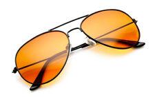 Metal Frame Colour Lens Pilot Sunglasses Orange Yellow Men Womens Fashion