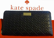 Kate Spade Penn Place Leather Embossed Neda Black Zip Leather Wallet, NWT
