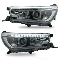 Customized LED Headlights with DRL Sequential Turn Signal for 16-19 Toyota Hilux