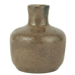 Small Ceramic Vase Crackled Surface Brown by Ib Laursen