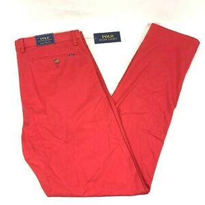 Polo Ralph Lauren Mens Stretch Slim Fit Chino Pants Red Size 33 X 32