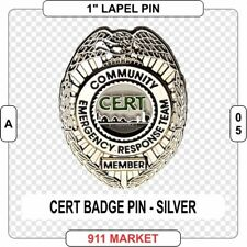 CERT Badge Lapel Pin SILVER Community Emergency Response Team Search Rescue A 05