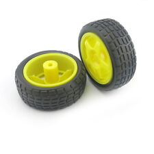 2pcs Yellow 65mm Smart Car Model Tire Wheel Robot Part DIY Toy RC TT Motor WL