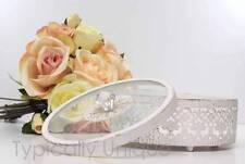LADIES TRINKET JEWELLERY BOX ROUND WITH LID METAL GLASS VINTAGE VALENTINE  GIFT