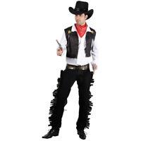New Mens Adult Black Western Cowboy Gunslinger Fancy Dress Costume Wild West