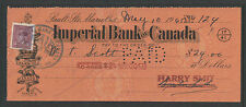 1945 IMPERIAL BANK OF CANADA SAULT STE MARIE ONTARIO BANK CHECK w/ REVENUE STAMP