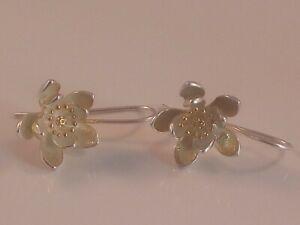 Fine Silver Stamped 925 Flower Design Pierced Ladies Earrings