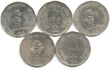 India Rs 2 Nickel Coins, 5 Pieces, on 'Railways - 150 Glorious Years, 2003'
