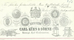 BUCHBINDERBEDARF Carl Kühn, Berlin, Rechnung für Jordanhütte Wollin von 1874