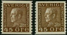 Sweden 1929 45 ore King Gustaf V Facit 191a + 191b (White Paper) Mnh (*)