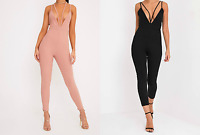 Black Pink Blush Strappy V Neck Plunge Harness Jumpsuit By Pretty Little Thing