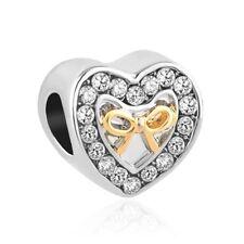 Charms charm compatibili Pandora Brosway - cuore fiocco oro e strass