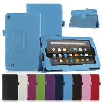 For Amazon Fire 7 Leather Case Smart Stand Cover Protection