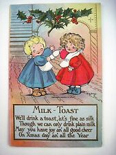 "1908 ""M.G.Hays"" Christmas Post Card w/ Little Girls Toasting X-Mas w/ Milk *"