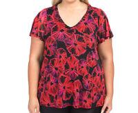 AUTOGRAPH Size 16 Embellished Top Blouse Black Red Floral Plus Women V Neck
