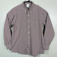 Brooks Brothers Milano Long Sleeve Seersucker Plaid Shirt Mens Sz XL Brown White