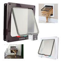 Pet Cat Safe 4-Way Locking Lockable Small Dog Flap Screen Door White/Brown Frame