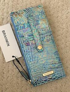Brahmin Melbourne Credit Card Slim Wallet Iridescent Leather WONDERLAND Blue NWT