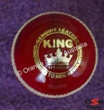 12 X KING (Wool Centred) RED Hand Sewn BAT FRIENDLY Leather Cricket Ball (4 Pc)